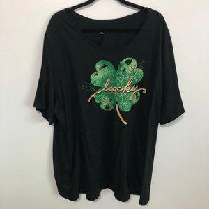 Plus Size Glitter Lucky Clover Shirt
